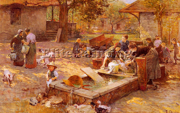 SWISS CHIALIVA LUIGI AT THE WASHING PLACE ARTIST PAINTING REPRODUCTION HANDMADE