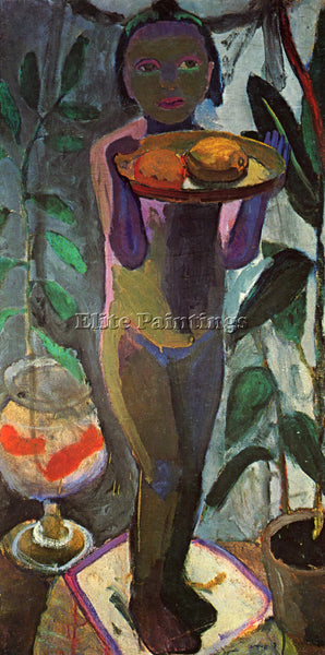 PAULA MODERSOHN-BECKER CHILD WITH GOLDFISH GLASS ARTIST PAINTING HANDMADE CANVAS
