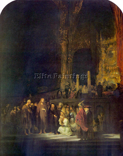 REMBRANDT CHRIST AND THE ADULTERESS ARTIST PAINTING REPRODUCTION HANDMADE OIL