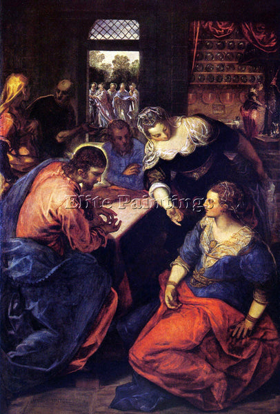TINTORETTO CHRIST WITH MARY AND MARTHA ARTIST PAINTING REPRODUCTION HANDMADE OIL