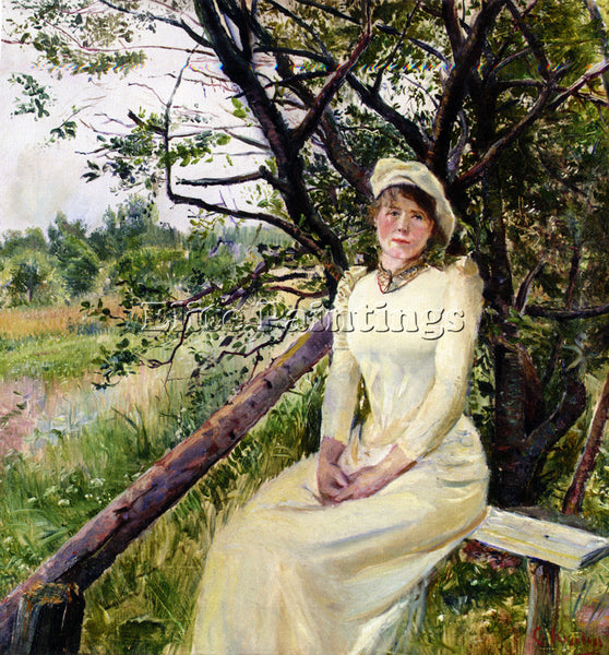 NORWAY CHRISTIAN KROHG UNG KVINNE PA EN BENK YOUNG WOMAN ON A BENCH PAINTING OIL