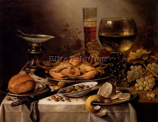 PIETER CLAESZ PIETER BANQUET STILL LIFE WITH A CRAB ON A SILVER PLATTER PAINTING