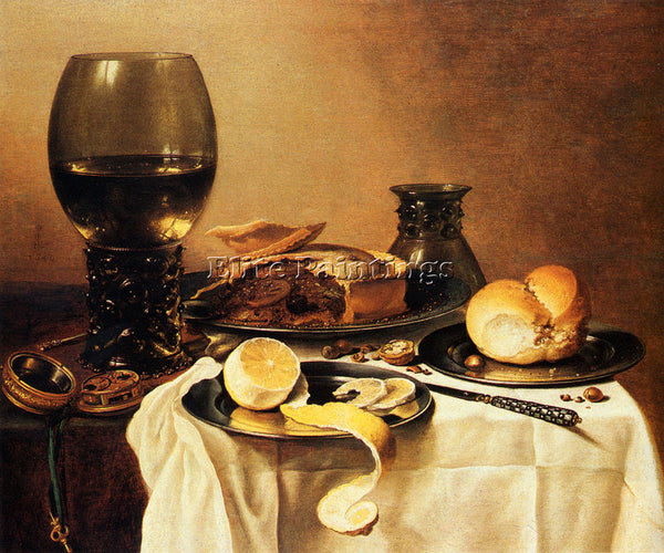 PIETER CLAESZ BREAKFAST STILL LIFE WITH ROEMER MEAT PIE LEMON AND BREAD PAINTING