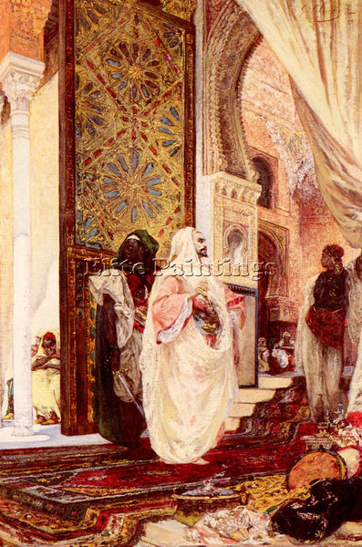 GEORGES JULES VICTOR CLAIRIN  ENTERING THE HAREM ARTIST PAINTING HANDMADE CANVAS