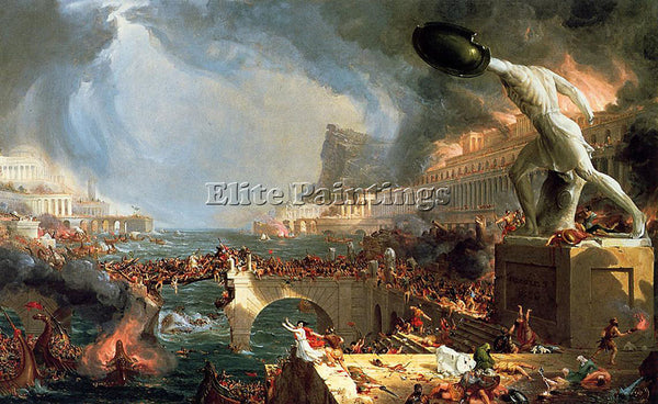 THOMAS COLE THE COURSE OF EMPIRE DESTRUCTION ARTIST PAINTING HANDMADE OIL CANVAS