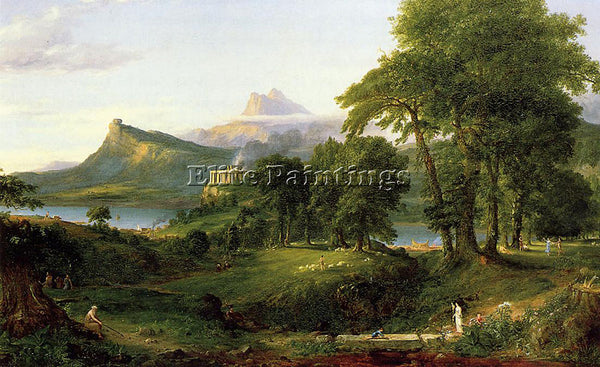 THOMAS COLE THE COURSE OF EMPIRE THE ARCADIAN OR PASTORAL STATE ARTIST PAINTING