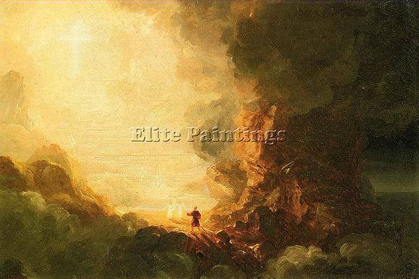 COLE THE CROSS AND WORLD STUDY FOR PILGRIM CROSS AT END HIS JOURNEY PAINTING OIL