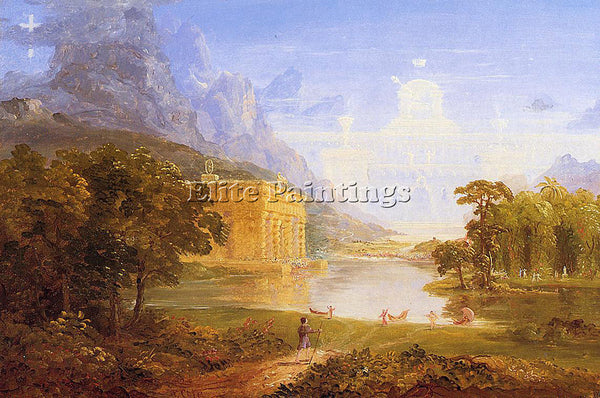 THOMAS COLE THE CROSS AND WORLD STUDY FOR PILGRIM WORLD ON HIS JOURNEHY PAINTING