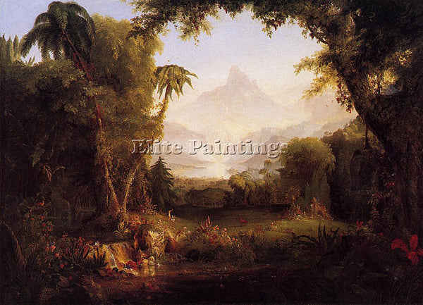 THOMAS COLE THE GARDEN OF EDEN 1828 ARTIST PAINTING REPRODUCTION HANDMADE OIL