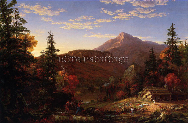 THOMAS COLE THE HUNTER S RETURN ARTIST PAINTING REPRODUCTION HANDMADE OIL CANVAS