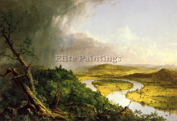 THOMAS COLE THE OXBOW THE CONNECTICUT RIVER NEAR NORTHAMPTON ARTIST PAINTING OIL