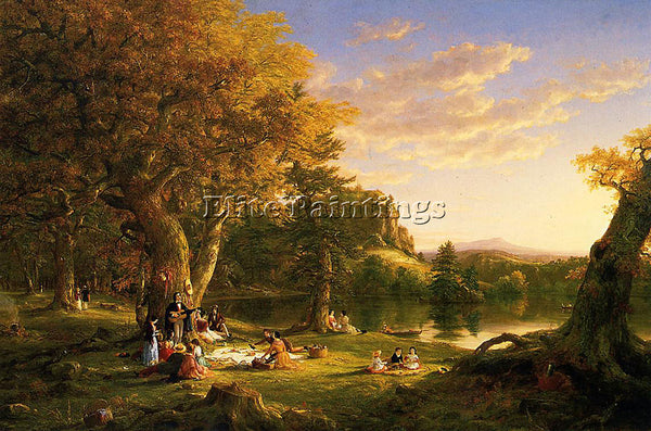 THOMAS COLE THE PICNIC ARTIST PAINTING REPRODUCTION HANDMADE CANVAS REPRO WALL