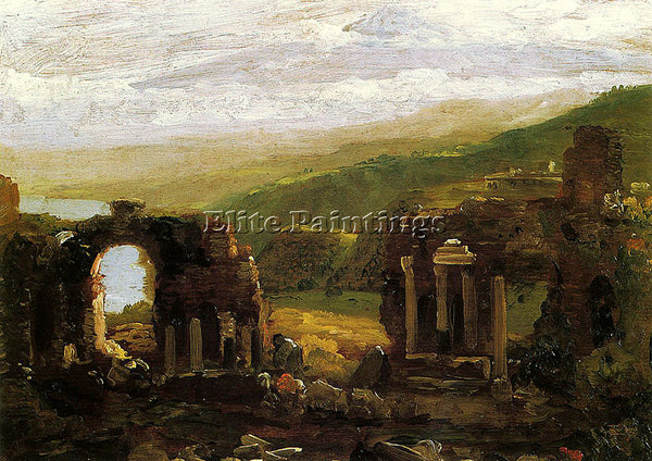 THOMAS COLE THE RUINS OF TAORMINA SKETCH ARTIST PAINTING REPRODUCTION HANDMADE