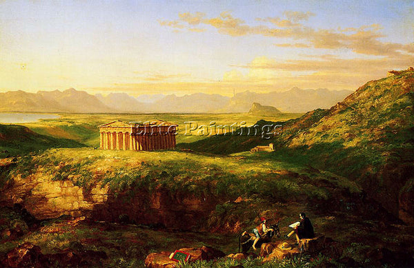 THOMAS COLE THE TEMPLE OF SEGESTA WITH THE ARTIST SKETCHING ARTIST PAINTING OIL