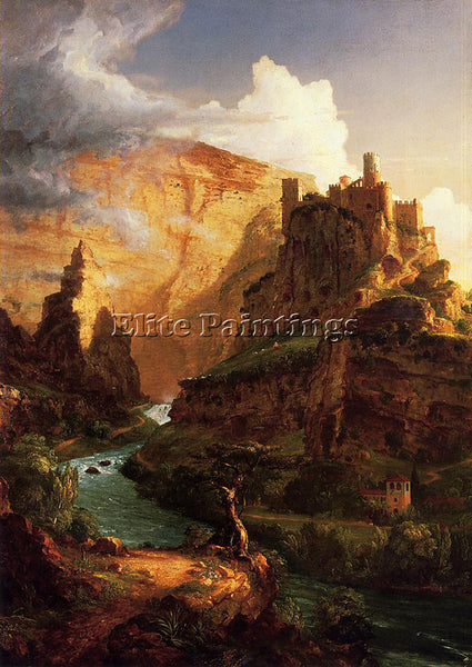 THOMAS COLE VALLEY OF THE VAUCLUSE ARTIST PAINTING REPRODUCTION HANDMADE OIL ART