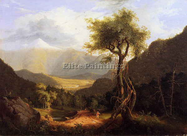 THOMAS COLE VIEW IN THE WHITE MOUNTAINS 1827 ARTIST PAINTING HANDMADE OIL CANVAS
