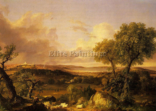 THOMAS COLE VIEW OF BOSTON ARTIST PAINTING REPRODUCTION HANDMADE OIL CANVAS DECO
