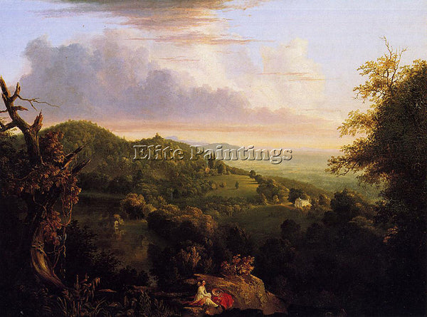 THOMAS COLE VIEW OF MONTE VIDEO SEAT OF DANIEL WADSWORTH ESQ ARTIST PAINTING OIL