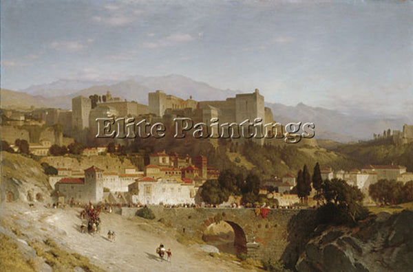 SAMUEL COLMAN THE HILL OF THE ALHAMBRA GRANADA ARTIST PAINTING REPRODUCTION OIL