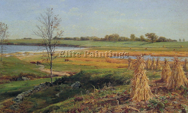 JOHN FREDERICK KENSETT CONNECTICUT SHORELINE IN AUTUMN ARTIST PAINTING HANDMADE