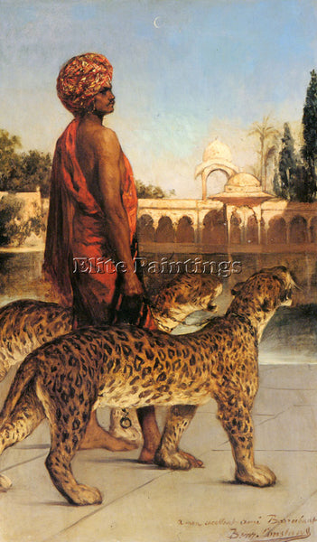 BENJAMIN JEAN JOSEPH CONSTANT THE PALACE GUARD WITH TWO LEOPARDS ARTIST PAINTING