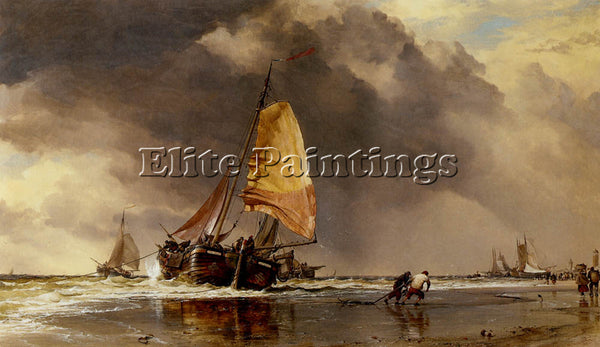 EDWARD WILLIAM COOKE DUTCH PINCKS OFF KATWYK ARTIST PAINTING HANDMADE OIL CANVAS