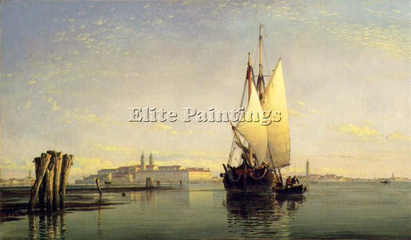 EDWARD WILLIAM COOKE ON THE LAGOON OF VENICE ARTIST PAINTING HANDMADE OIL CANVAS