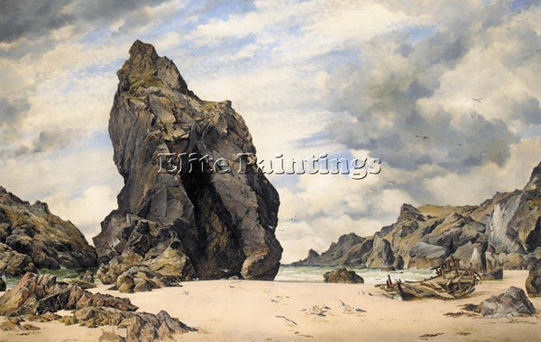 EDWARD WILLIAM COOKE STEEPLE ROCK KYNANCE COVE LIZARD CORNWALL LOW WATER ARTIST