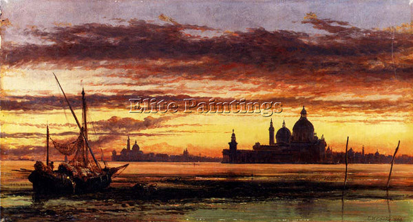 EDWARD WILLIAM COOKE SUNSET SKY SALUTE AND SAN GIORGIO MAGGIORE ARTIST PAINTING