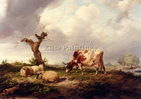 THOMAS SIDNEY COOPER A COW WITH SHEEP IN A LANDSCAPE ARTIST PAINTING HANDMADE