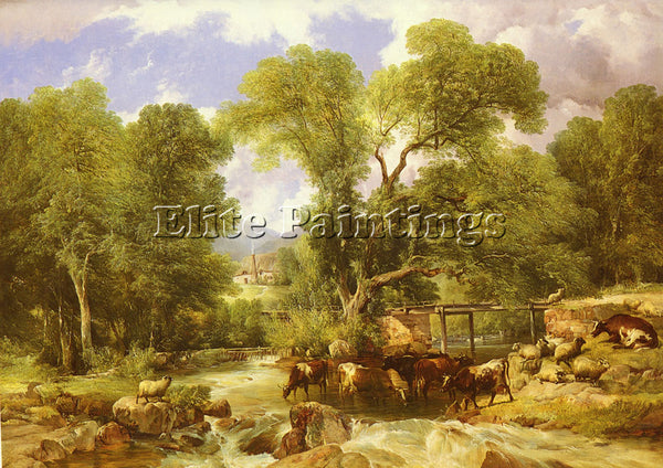 THOMAS SIDNEY COOPER A WOODED FORD ARTIST PAINTING REPRODUCTION HANDMADE OIL ART