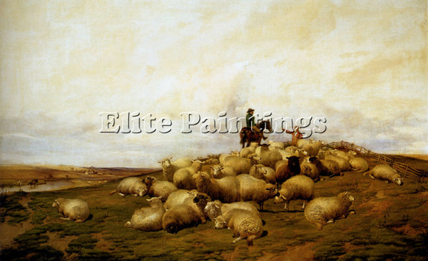 THOMAS SIDNEY COOPER A SHEPHERD WITH HIS FLOCK ARTIST PAINTING REPRODUCTION OIL