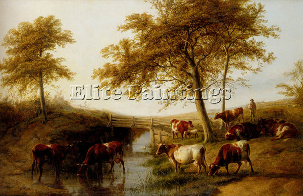 THOMAS SIDNEY COOPER CATTLE RESTING BY A BROOK ARTIST PAINTING REPRODUCTION OIL