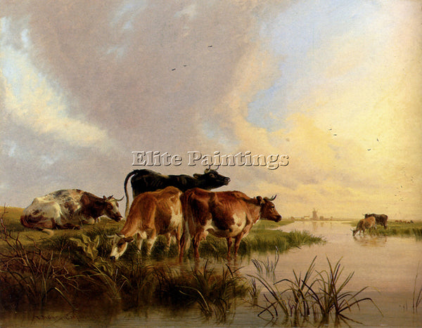 THOMAS SIDNEY COOPER CATTLE WATERING ARTIST PAINTING REPRODUCTION HANDMADE OIL