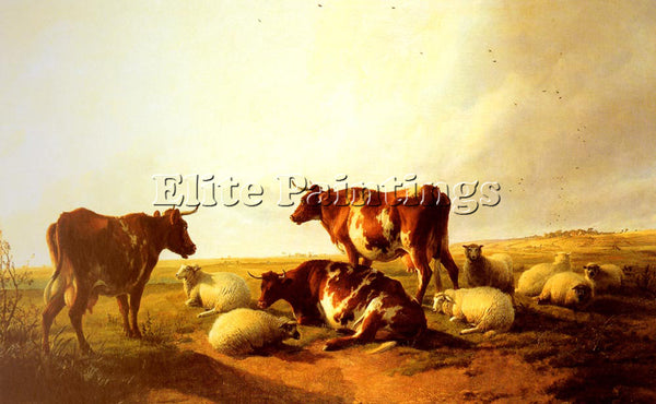 THOMAS SIDNEY COOPER CATTLE AND SHEEP IN A LANDSCAPE ARTIST PAINTING HANDMADE