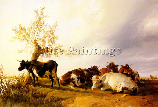 THOMAS SIDNEY COOPER DAIRY COWS RESTING ARTIST PAINTING REPRODUCTION HANDMADE