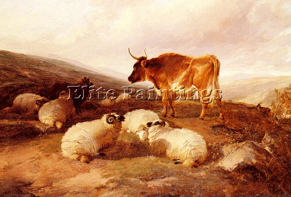 THOMAS SIDNEY COOPER RAMS AND A BULL IN A HIGHLAND LANDSCAPE ARTIST PAINTING OIL