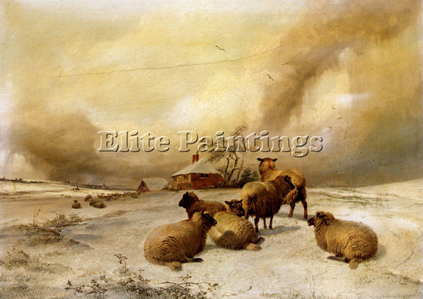THOMAS SIDNEY COOPER SHEEP IN A WINTER LANDSCAPE ARTIST PAINTING HANDMADE CANVAS