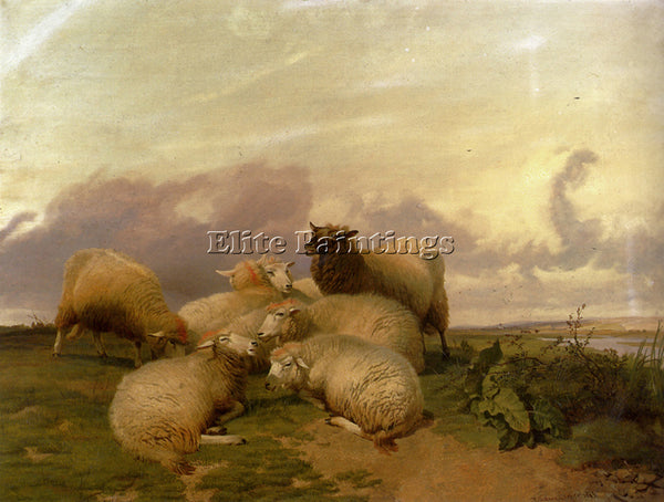 THOMAS SIDNEY COOPER SHEEP IN CANTERBURY WATER MEADOWS ARTIST PAINTING HANDMADE