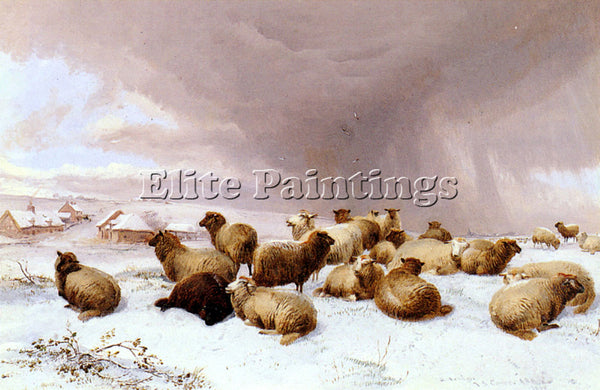 THOMAS SIDNEY COOPER SHEEP IN WINTER ARTIST PAINTING REPRODUCTION HANDMADE OIL