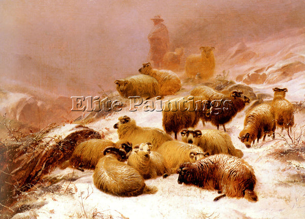 THOMAS SIDNEY COOPER THE CHILL OF WINTER ARTIST PAINTING REPRODUCTION HANDMADE