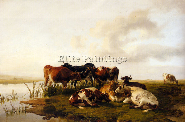 THOMAS SIDNEY COOPER THE LOWLAND HERD ARTIST PAINTING REPRODUCTION HANDMADE OIL