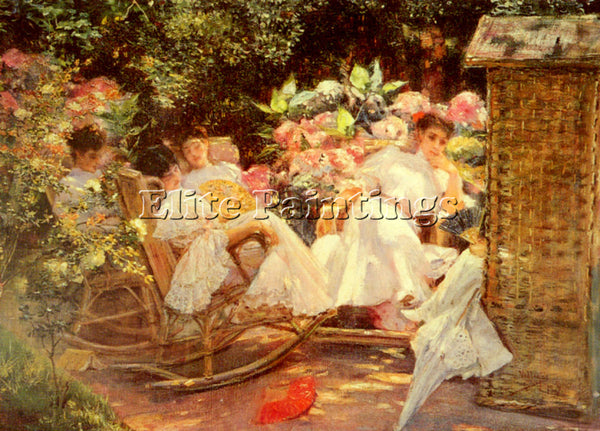 JOSE VILLEGAS Y CORDERO Y LADIES IN A GARDEN ARTIST PAINTING HANDMADE OIL CANVAS