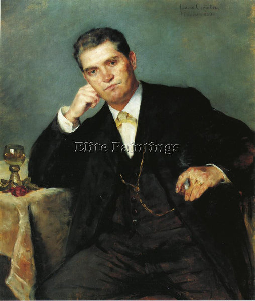 LOVIS CORINTH PORTRAIT OF FRANZ HEINRICH WITH A GLASS OF WINE PAINTING HANDMADE