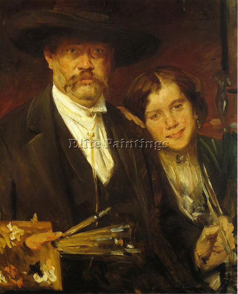 LOVIS CORINTH SELF PORTRAIT WITH MODEL ARTIST PAINTING REPRODUCTION HANDMADE OIL