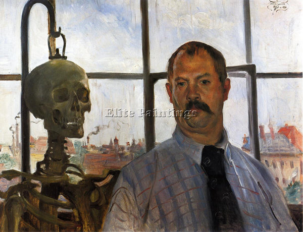 LOVIS CORINTH SELF PORTRAIT WITH SKELETON ARTIST PAINTING REPRODUCTION HANDMADE