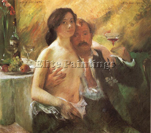 LOVIS CORINTH SELF PORTRAIT WITH HIS WIFE AND A GLASS OF CHAMPAGNE REPRODUCTION