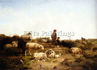 BELGIAN CORNELIS VAN LEEMPUTTEN SHEPHERD BOYS WITH THEIR FLOCK 1869 PAINTING OIL