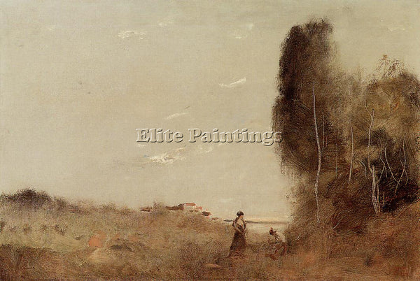 JEAN-BAPTISTE-CAMILLE COROT MORNING BY THE WATER ARTIST PAINTING HANDMADE CANVAS