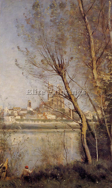 JBAPTISTE-CAMILLE COROT NANTES CATHEDRAL AND CITY SEEN THROUTH TREES OIL CANVAS